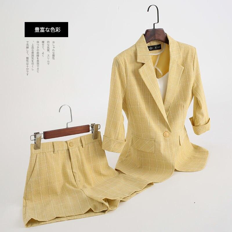 Blazer Oversize Plaid  Jacket Female Fashion Blazer Women+pants Women Short Suit Female Two Piece Set Women Handsel Crop Top