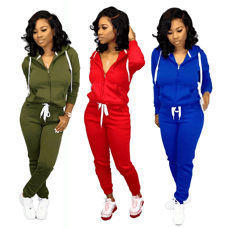 2020 Europe And America Early Spring New Women's Solid Color Sports Casual Long-sleeved Trousers Sweater Suit