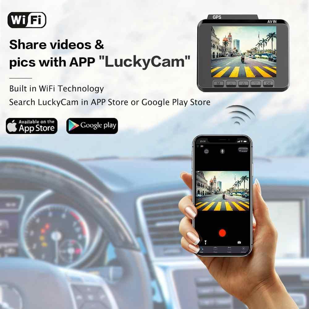 Azdome 4 K/2880*2160 P Dash Cam WiFi Mobil DVR Perekam M06 Lensa Ganda Kendaraan Kamera Belakang built In GPS WDR Malam Visi Dashcam