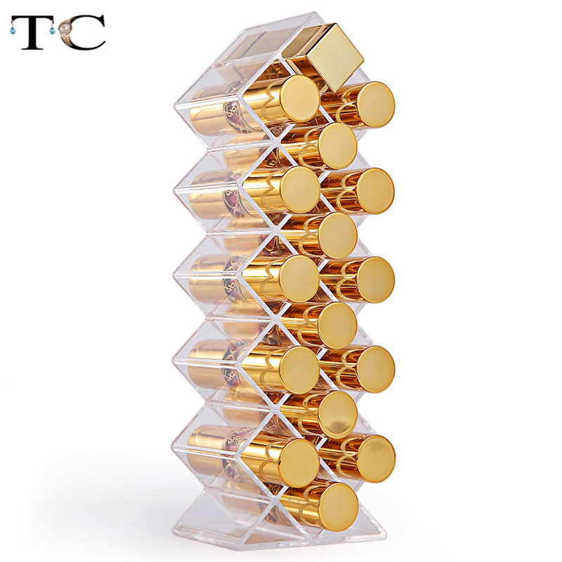 Stylish Transparent Plastic 16 Grid Lipstick Box Fish Like Dust Display Rack Cosmetics Lipstick Storage Box Jewelry Boxes