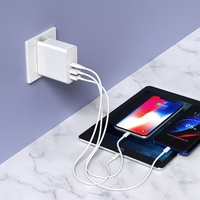60W (30W+18W+12W)Wall Charger Adapter PD+QC3.0 Type C USB Charger for Macbook iPhone iPad Pro Samsung Xiaomi Huawei|Chargers| |  -