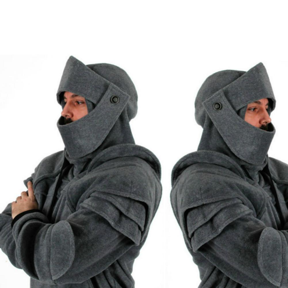 2019 New Best Selling Solid Color Men's Medieval Armor Hoodie Long Sleeve Retro Sweatshirt Cosplay Costume