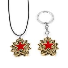 Cool Game CS GO Keychain Necklace Vantage Counter-strike Key Chain Pentagram Pendant Keyring for Men Gifts Souvenirs