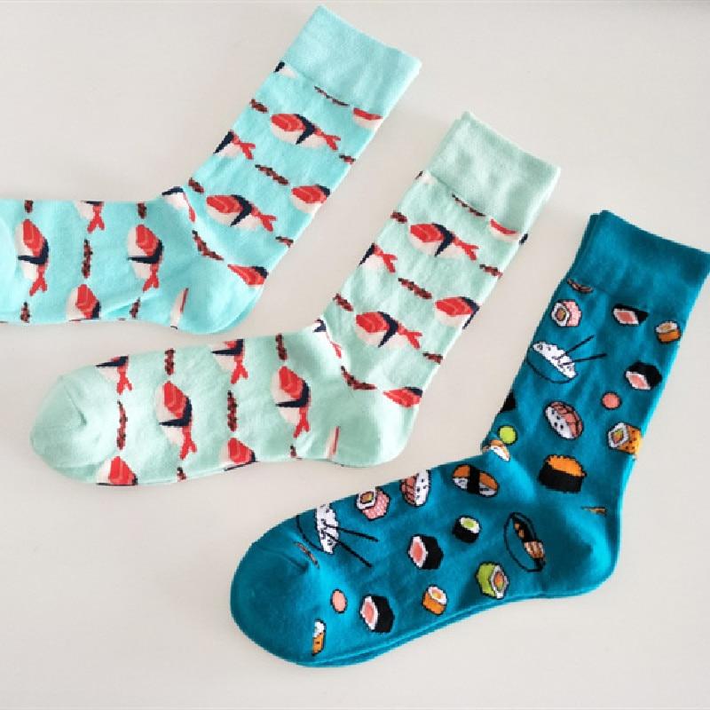 Новые европейские и американские индивидуальные парные носки мужские трендовые носки для суши лосося еды хлопковые носки