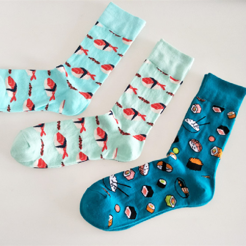Novo europeu e americano personalidade casal meias sushi salmão comer tendência meias de algodão dos homens
