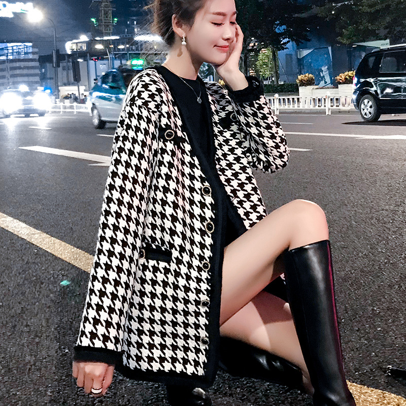 Place Of Origin Supply Of Goods 2020 New Style Spring Clothing Long Sleeve Thousands Of Birds Debutante Graceful Coat Sheath Ski