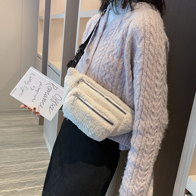 Casual Chest Bag For Women For Women 2019 New Trendy Warm Shoulder Bag Plush Waist Belt Bags Crossbody Pack Faux Fur