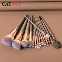 Catwo 15Pcs Make-Up Kwasten Set Cosmetische Foundation Poeder Blush Oogschaduw Lip Blend Houten Make Up Brush Tool Kit maquiagem