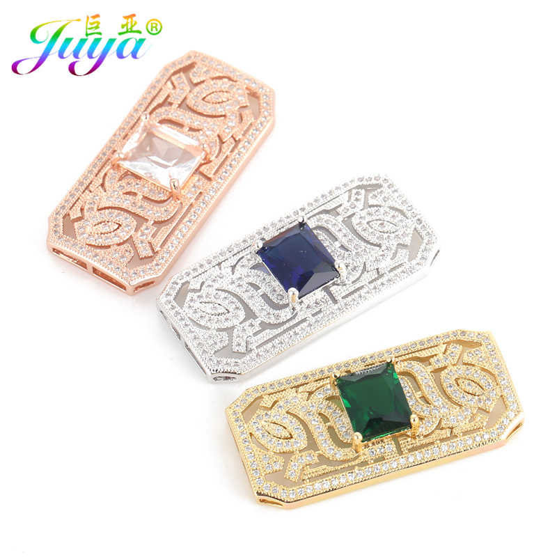 Juya DIY Jewelry Accessories Supplies Micro Pave Zircon Rectangular Connector Pendants For Women Pearls Tassels Jewelry Making