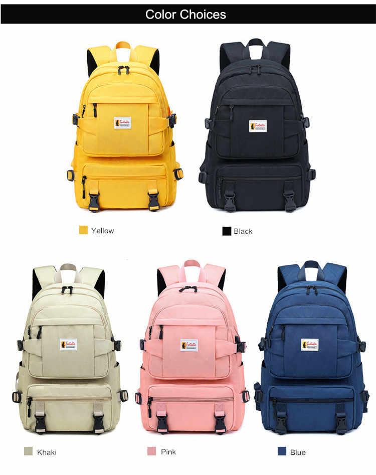 Fengdong di colore giallo di modo zaino sacchetti di scuola dei bambini per le ragazze impermeabile di oxford del sacchetto di scuola grande zaino per gli adolescenti zainetto