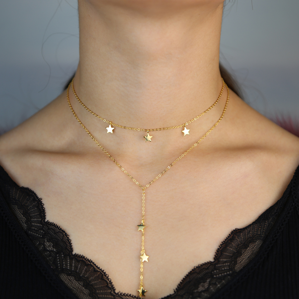 100% 925 sterling silver star charm Y shape gold silver color link chain necklaces sexy women long lariat multi layered necklace