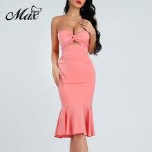 Женское облегающее платье миди max spri без бретелек с бантом
