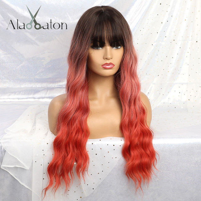 ALAN EATON Long Ombre Orange red Black Women Wigs with Bangs Heat Resistant Synthetic Wavy Wigs Female African American Cosplay