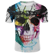 2019 Koreaanse Zomer Cool Skull Fashion 3d Gedrukt Ronde Hals Losse Korte Mouw Heren T-shirt Casual Korte Mouw(China)