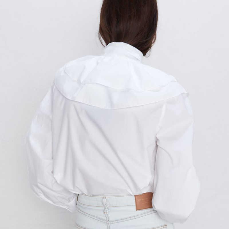 3cb08715bf Fandy Lokar Bow Solid Blouses Women Fashion Cascading Ruffle Shirts Women  Elegant Long Sleeve Poplin Tops Female Ladies HP