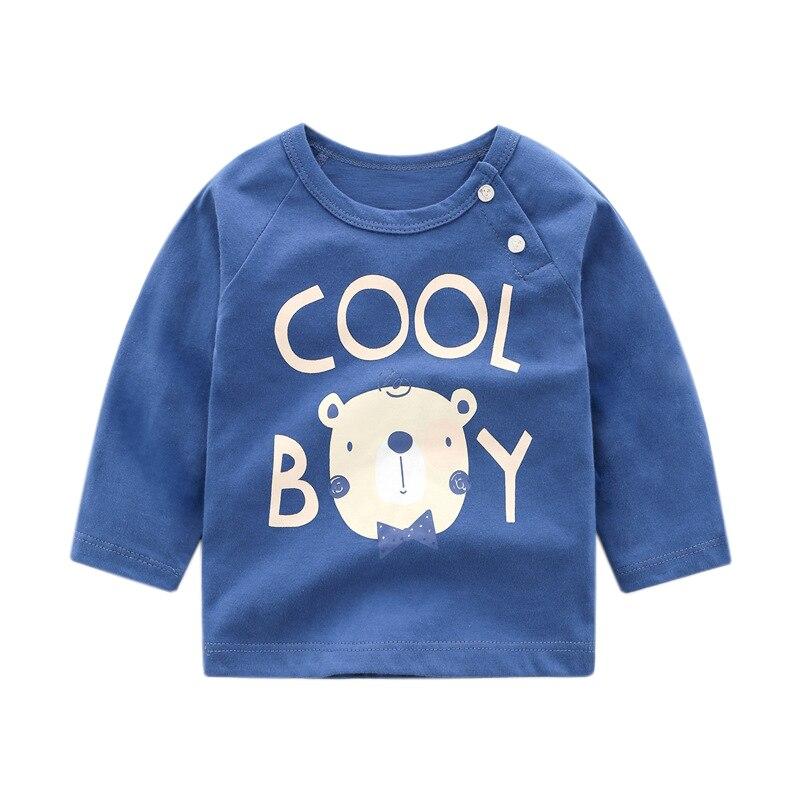 От 6 месяцев до 5 лет унисекс; сезон осень-зима; хлопковая футболка с длинными рукавами и героями мультфильмов; футболки для маленьких мальчиков и девочек; детская повседневная одежда; одежда с круглым вырезом - Цвет: 48
