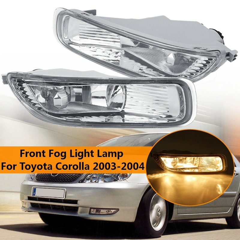 1 Pair Clear Lens Bumper Fog Light Lamps with Bulbs for Toyota Corolla 2003 -2005