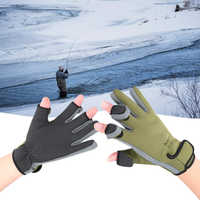 Outdoor Winter Fishing Gloves Waterproof Three or Two Fingers Cut Anti-slip Climbing Glove Hiking Camping Riding Gloves