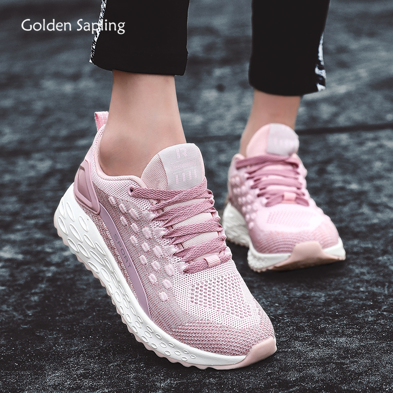 Golden Sapling Pink Running Shoes For Women Lightweight Air Mesh GYM Women's Sneakers Trainers Fitness Comfortable Sport Sneaker
