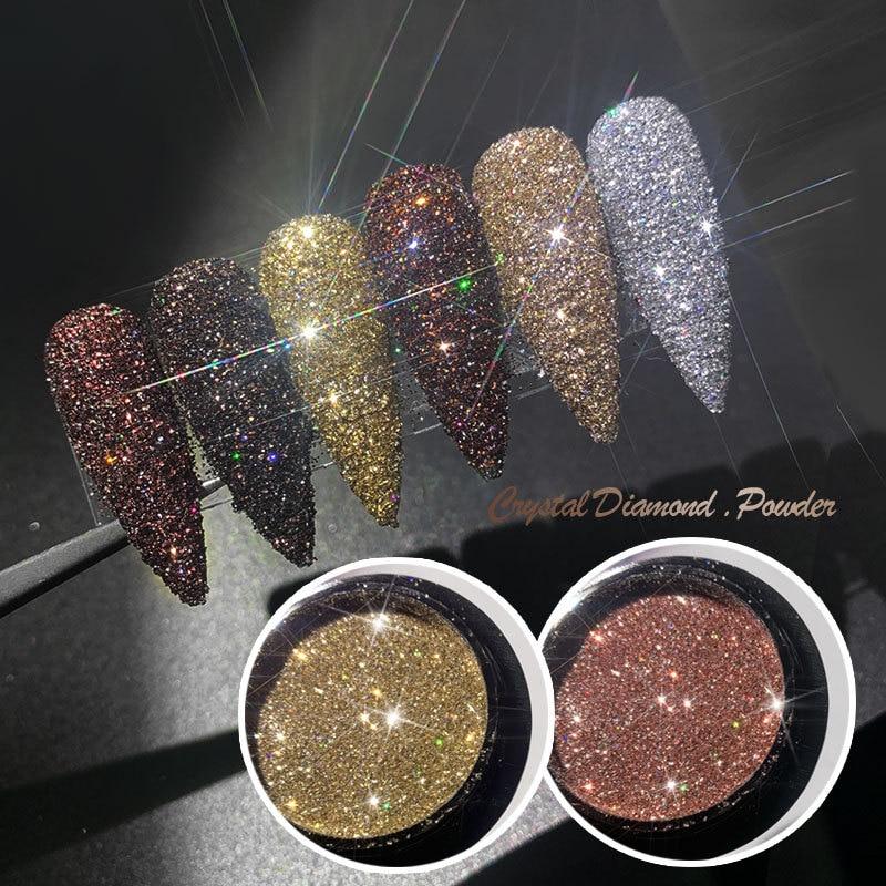 0.5g Nail Powder Glitter Crystal Diamond Shiny Nail Art Pigment Nail Polish Laser Dazzling Disco Style Nail DIY Decorations
