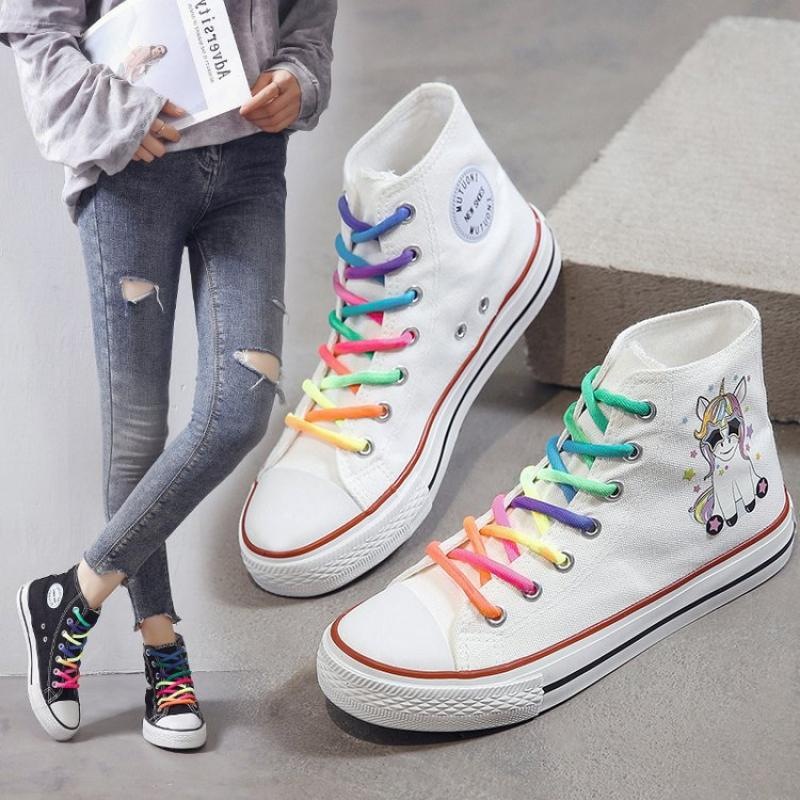 SWYIVY Women Vulcanized Shoes Cartoon Rainbow Lace-Up Canvas Shoes Women Platform Flat High-Top White Ladies Casual Sneakers
