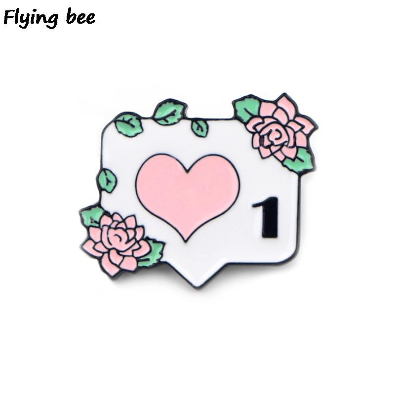 Flyingbee Heart Computer Icons Like Button Pin Instagram Enamel Pin Notification 1 Like Brooch Funny Enamel Pin Collection X0414