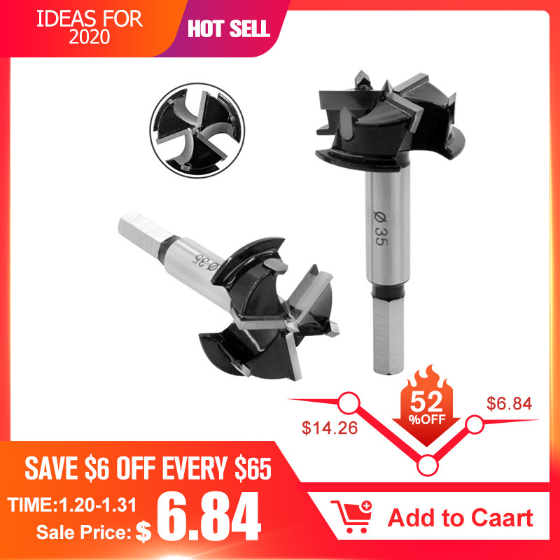 Upgrade 35mm 3 Flutes Carbide Tip Forstner Drill Bit Wood Auger Cutter Woodworking Hole Saw For Power Tools Drill Bits