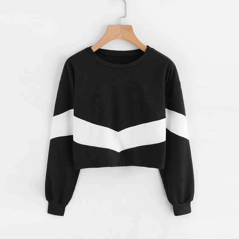 Fashion Autumn Womens Clothing Short Loose Coat Women White Casual Cotton Hoodie Black O-Neck Pullovers