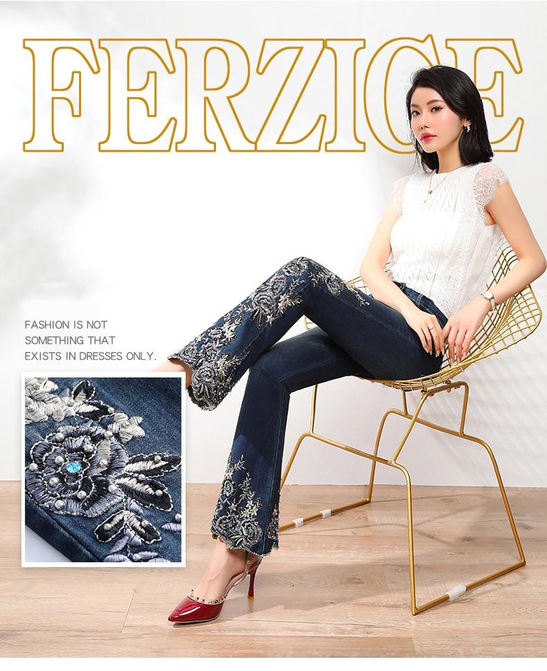 KSTUN FERZIGE Jeans Women High Waist Stretch Dark Blue Flared Pants Embroidery Hand Beads Bell Top Quality Mujer Jeans Plus Size 36 11