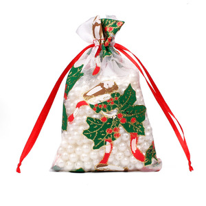 Image 5 - 50/100pcs 10X15 13X18cm בצבע אדום לבן חג המולד אורגנזה תיק גזה אלמנט תכשיטים שקיות אריזת Drawable אורגנזה מתנת שקיות 55