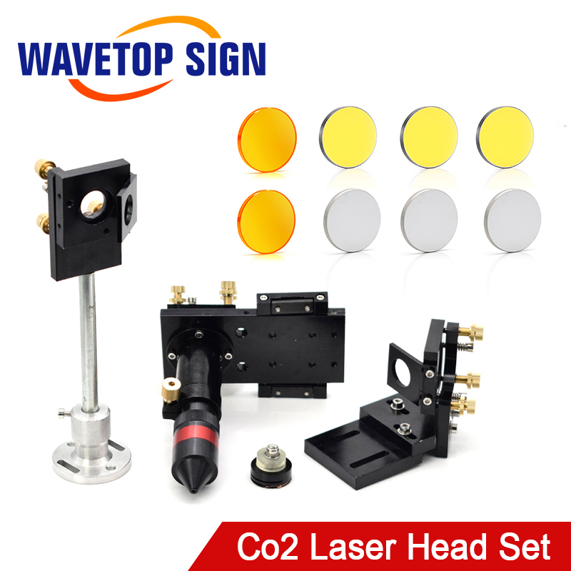 WaveTopSign CO2 Laser Head Focus Lens 20mm Reflective Mirror 25mm Integrative Mount Laser Engraving And Cutting Machine