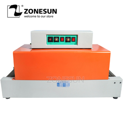 ZONESUN Automatic Shrink Machine PVC Film Shrinking Heat Package Sleeve Plastic Packing box tableware food sealler strapper tool