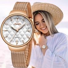 SUNKTA العلامة التجارية الفاخرة مشاهدة النساء فساتين راقية كوارتز ساعة معصم السيدات الفولاذ المقاوم للصدأ مقاوم للماء الساعات Relogio Feminino + صندوق
