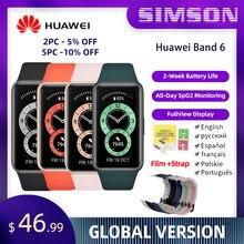 CODE : SIMSON12 $20-$12 Huawei banda 6 smartband oxigênio no sangue 1.47 amamtela amoled rastreador de freqüência cardíaca monitoramento do sono smartband versão global