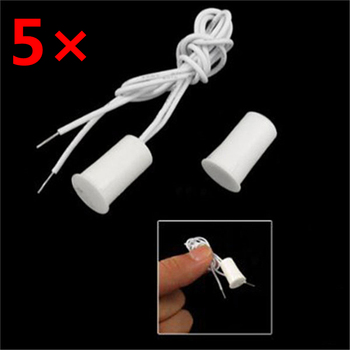 5 Pair Wired Door Window Sensor Recessed Magnetic Contacts Security Reed Switch Alarm For Home Security Alarm White Hot Sale