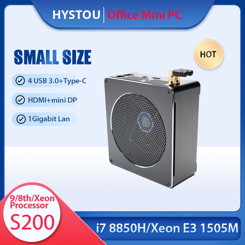 Escritório portátil core i9 9880h i7 8850h desktop mini pc windows 10 xeon E3-1505M tipo-c mini htpc mini computador linux i5 9300h