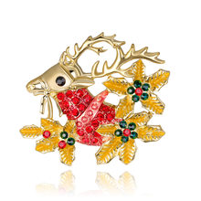 Christmas Ornaments Personality Cartoon Sika Deer Brooch Joker Ma'am Brooch(China)