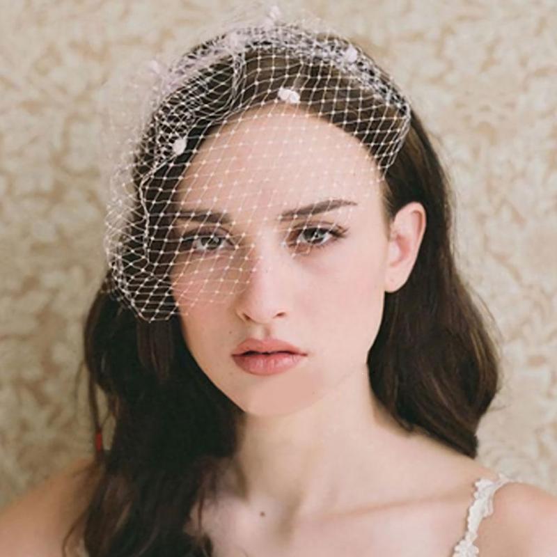 Vintage Simple Bridal Net Birdcage Veils Black Polka Dot Big Mesh Hairpin Brooch Headdress Fascinator Face Veils With Comb