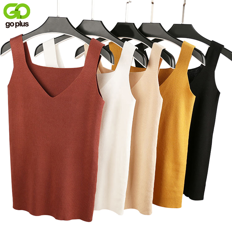 GOPLUS 2020 Sexy V Neck Knitted Crop Top Women's Shirt Plus Size Tank Top Underwear Women Casual Streetwear Clothing For Women