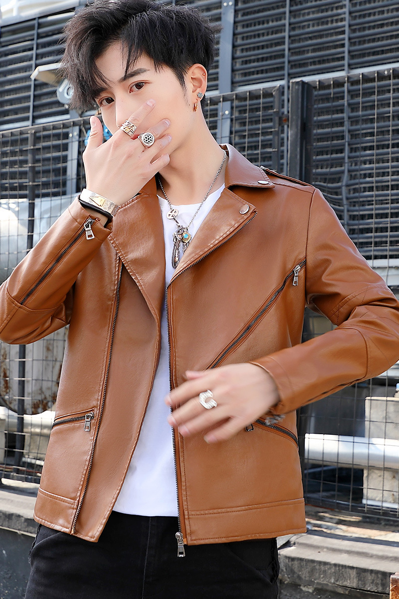 2020 Men Spring Trend Slim Fit Handsome Fold-down Collar PU Leather Jacket Teenager Oblique Zipper Locomotive Leather Coat
