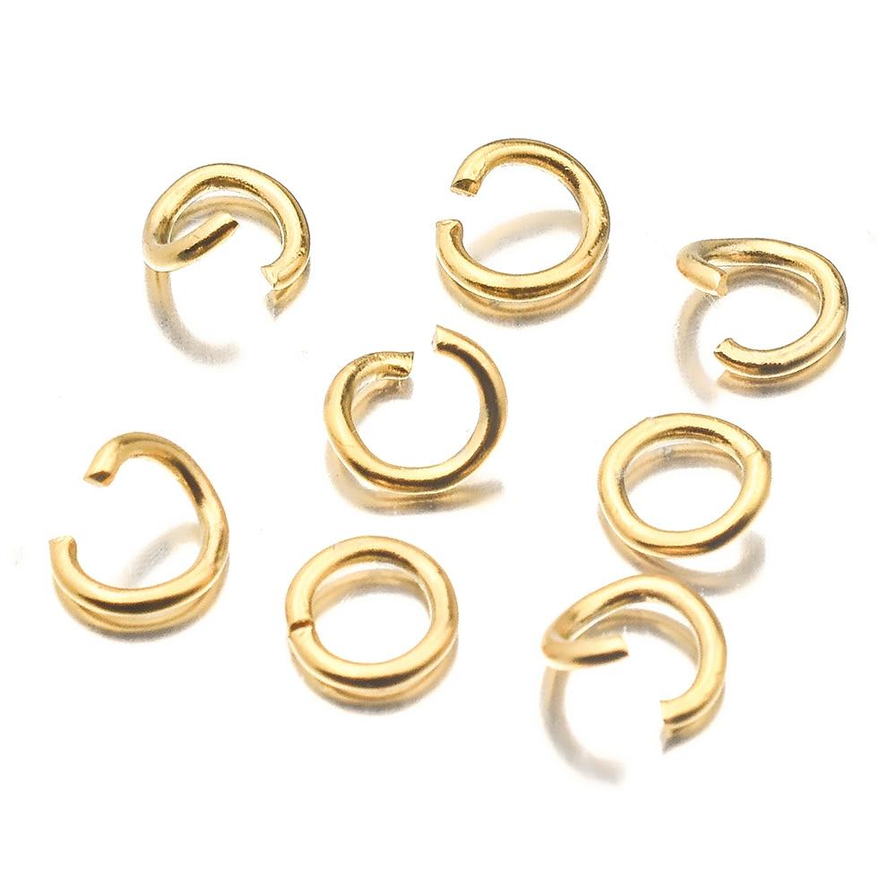 Aiovlo 100 pz/lotto Oro In Acciaio Inox Salto Aperto Anelli Diretta 4/5/6 millimetri Split Anelli Connettori per FAI DA TE Ewelry Risultati Che Fanno