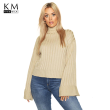 Kissmilk Plus Size Woman Clothes Vertical Striped Knit Half-necked Wide-brimmed Pullover Sweater cable knit half zip pullover sweater