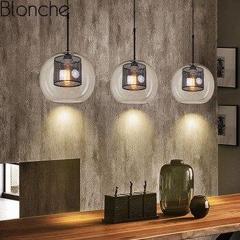Современный винтажный стеклянный подвесной светильник в скандинавском стиле, промышленный подвесной светильник для спальни, ресторана, ба...