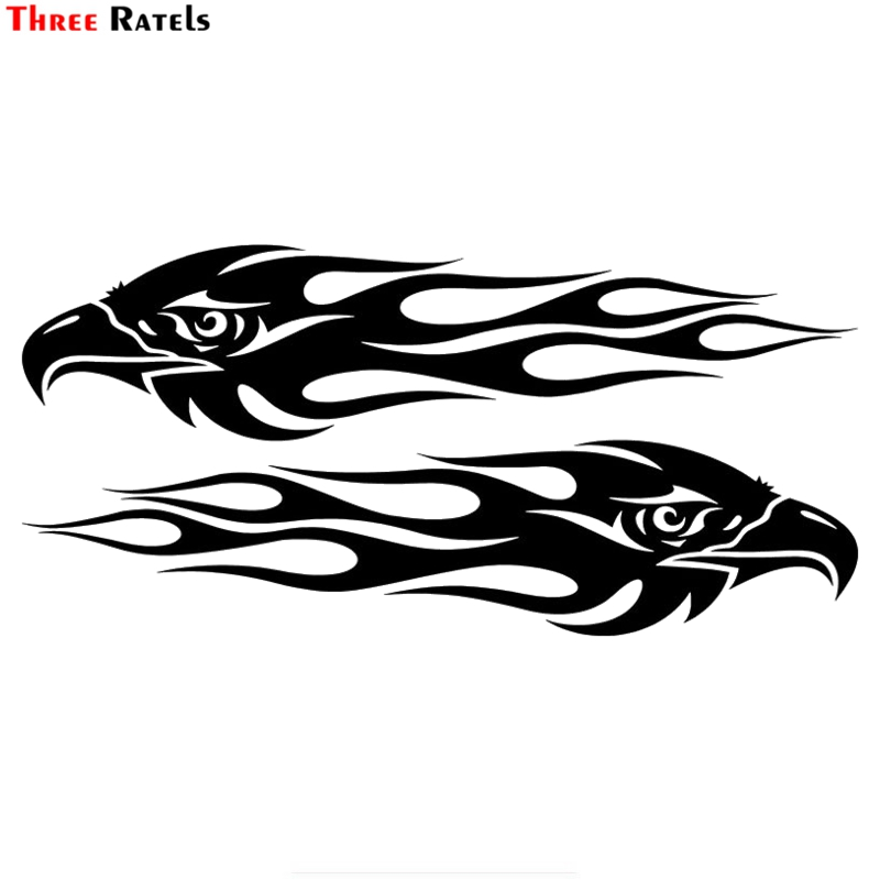 Three Ratels FTZ-179# 20x9.5cm Pair Eagle Flames Car Sticker Personalized Motorcycle Waterproof Stickers Car Styling