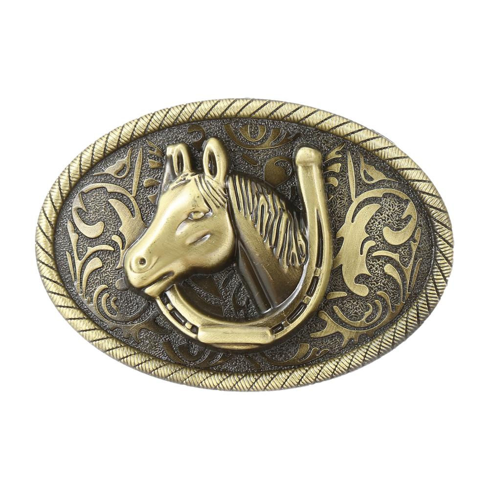 Western Cowboy Men's Alloy Horse Head Belt Buckle Jeans With Horse Head Fashion Accessories