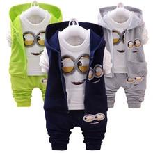 Costume de printemps pour bébé fille et garçon, ensemble de vêtements mignon pour nouveau-né, gilet + chemise + pantalon, 3 pièces Ensembles de costumes pour enfants