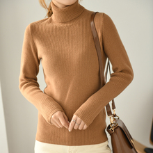 Winter New 100% Pure Wool Knitted Sweaters for Woman High Elastic Turtlneck Standard Long Sleeve Fem