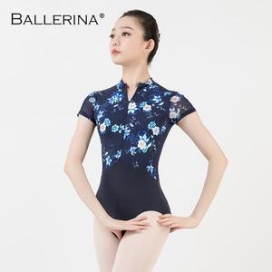 Image 4 - women ballet gymnastics printing Leotards adult black dark blue Turtleneck short sleeve leotard Ballerina 3524
