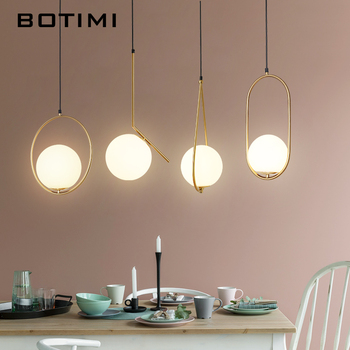BOTIMI Modern LED Pendant Lights With Round Glass BalI Dining E27 Pendant Lamps Metal Hanging Light Fixture for Living Room