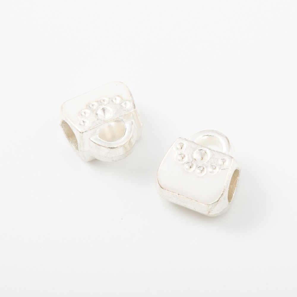 100 adet 11*10MM gümüş renk emaye çanta çanta avrupa charms big hole İtalyan boncuk bilezik diy için malzeme takı yapımı